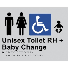 Braille Sign - Unisex Toilet RH + Baby Change