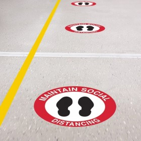 Floor Marking Sign - Maintain Social Distancing, 300mm Diameter