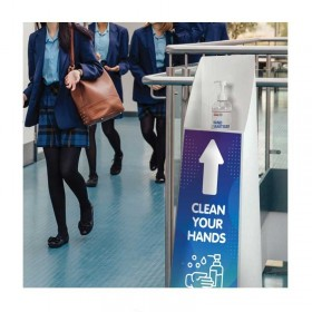 Tall Hand Sanitising Station Floor Stand + FREE Hand Sanitiser 500ml Pump
