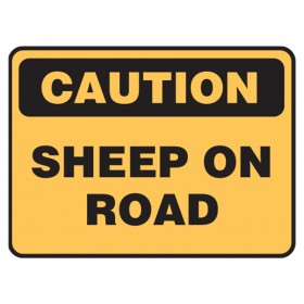 Stock Crossing Sign - Caution Sheep On Road