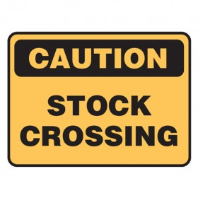 Stock Crossing Sign - Caution Stock On Road