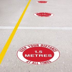 Floor Marking Sign - Keep Your Distance At All Times - 1.5m, 300mm Diameter