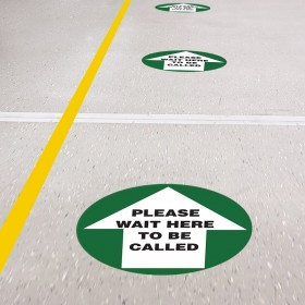 Floor Marking Sign - Please Wait Here To Be Called, 300mm Diameter