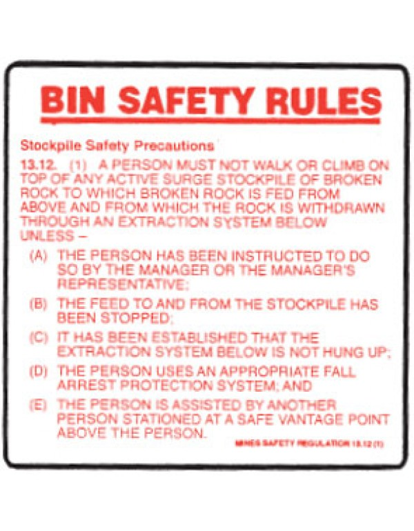 Bin Safety Rules Sign Metal - H600mm x W600mm
