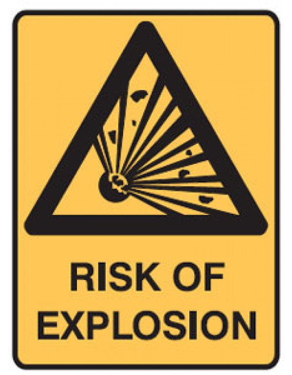 Explosion Picto Risk Of Explosion Sign Metal - H450mm x W300mm
