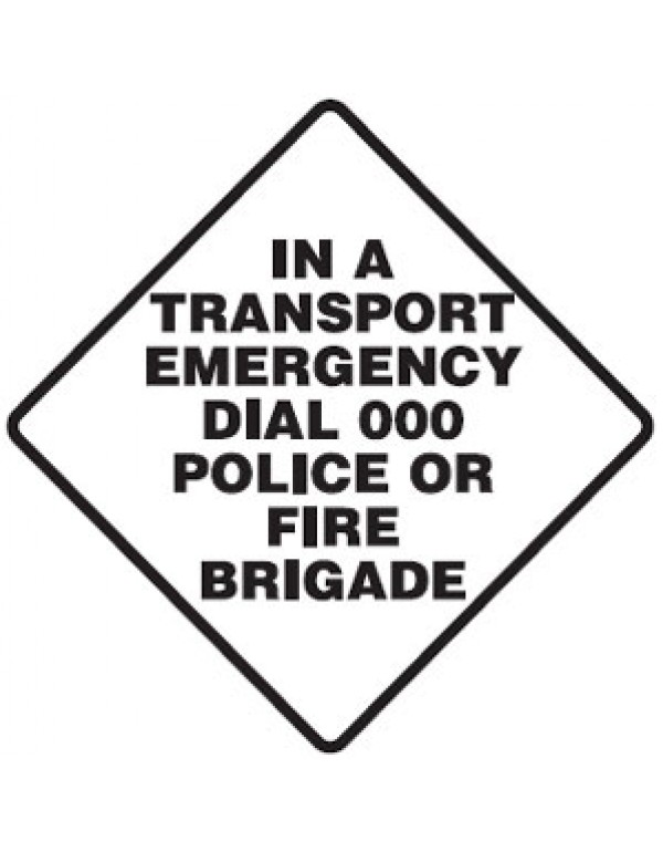 In A Transport Emergency Dial 000 Police Or Fire Brigade Sign Self-Adhesive Paper - H100mm x W100mm