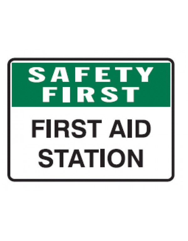 Safety First First Aid Station Sign Self-Adhesive Vinyl - H300mm x W450mm