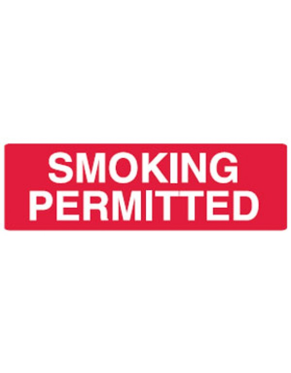 Smoking Permitted Sign Self-Adhesive Vinyl - H100mm x W350mm