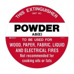 Fire Safety Marker Disc - This Extinguisher Powder AB(E) To Be Used For Wood ... - 200mm Dia POLY