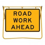 Road Work Ahead Sign and Swing Stand Kit, 1200 x 900mm