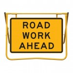 Road Work Ahead Sign and Swing Stand Kit, 900 x 600mm