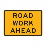 Road Work Ahead Sign, 900 x 600mm