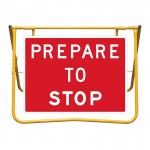Prepare to Stop Sign and Stand Kit, 900 x 600mm