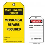 Accident Prevention Tag - Maintenance Hold Tag Mechanical Repairs Required
