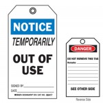 Accident Prevention Tag - Notice Temporarily Out Of Use