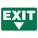Arrow Down Picto Exit Sign Photoluminescent - H180mm x W300mm