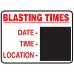 Blasting Times Date- Time- Location- Sign Metal - H900mm x W1200mm