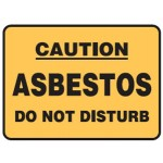 Caution Asbestos Do Not Disturb Sign Self-Adhesive Vinyl - H50mm x W80mm