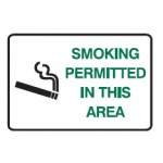 Cigarette Picto No Smoking Except In Designated Area Sign Metal - H300mm x W450mm