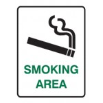 Cigarette Picto Smoking Area Sign Metal - H300mm x W450mm
