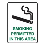 Cigarette Picto Smoking Permitted In This Area Sign Metal - H300mm x W450mm
