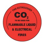 CO2 To Be Used For Flammable Liquid & Electrical Fires Sign