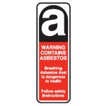 Picto Contains Asbestos Breathing Asbestos Dust Is Dangerous To Health Sign Self-Adhesive Vinyl - H180mm x W60mm