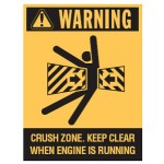 Picto Crush Zone Keep Clear When Engine Is Running Sign Self-Adhesive Vinyl - H125mm x W90mm