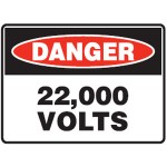 Danger 22,000 Volts Sign Metal - H225mm x W300mm