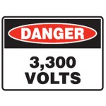 Danger 3,300 Volts Sign Metal - H300mm x W450mm