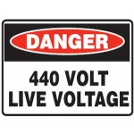 Danger 440 Volt Live Voltage Sign Metal - H225mm x W300mm