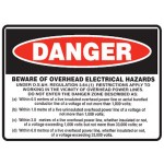 Danger Beware Of Overhead Electrical Hazards Sign Self-Adhesive Vinyl - H105mm x W155mm