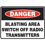 Danger Blasting Area Switch Off Radio Transmitters Sign Metal - H600mm x W1200mm