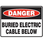 Danger Buried Electric Cable Below Sign Metal - H150mm x W200mm