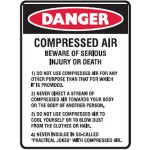 Danger Compressed Air Beware Of Serious Injury Or Death Sign