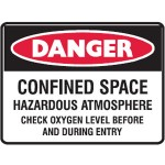 Danger Confined Space Sign Metal - H450mm x W600mm