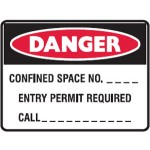 Danger Confined Space No. Blank Entry Permit Required Call Blank Sign Metal - H450mm x W600mm