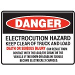 Danger Electrocution Hazard Keep Clear Of Truck And Load Sign Self-Adhesive Vinyl - H90mm x W140mm