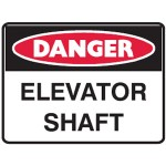 Danger Elevator Shaft Sign Metal - H450mm x W600mm