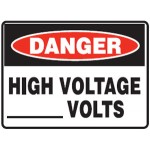 Danger High Voltage Blank Volts Sign Metal - H300mm x W450mm