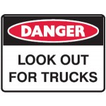 Danger Look Out For Moving Vehicles Sign Metal - H450mm x W600mm