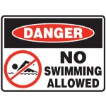 Danger No Swimming Allowed Sign Metal - H450mm x W600mm