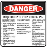 Danger Requirements When Refuelling Sign Metal - H600mm x W600mm