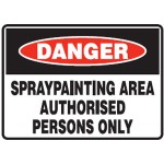Danger Spray Painting Area Authorised Persons Only Sign Metal - H450mm x W600mm