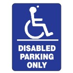 Disabled Parking Only Sign 300x450 Metal