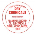 Dry Chemicals To Be Used For Flammable Liquid, Oil, Electrical & Small Wood, Paper Fires Sign