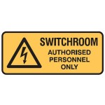 Electrical Picto Switchroom Authorised Personnel Only Sign Self-Adhesive Vinyl - H125mm x W300mm