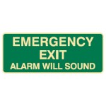 Emergency Exit Alarm Will Sound Sign Luminous - H180mm x W450mm