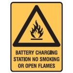 Flammable Picto Battery Charging Station No Smoking Or Open Flames Sign Metal - H450mm x W300mm