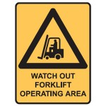 Forklift Picto Watch Out Forklift Operating Area Sign Metal - H450mm x W300mm